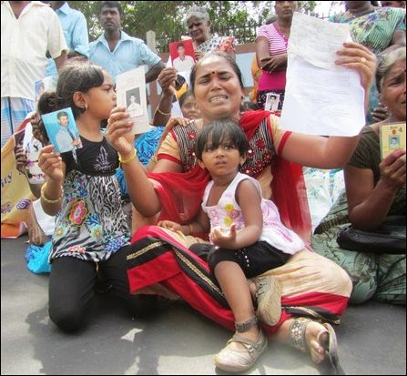 Unable to meet Ms Navi Pillay, Kith and kin of missing shed tears