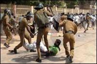 SL Police attacking Jaffna university students