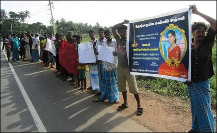 Puththoor villagers protest against rape, murder