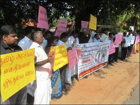 Protest against Tamil prisoner's death