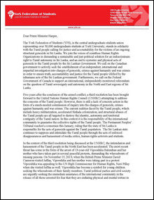 Canadian Students letter to Harper