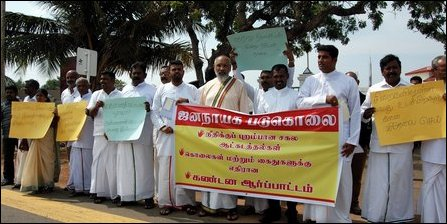 NPC CM taking part in protest at Kaithadi, Jaffna