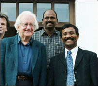 Professor Johan Galtung with LTTE's Political Head S.P. Thamilchelvan in 2005 in Europe