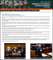 Screenshot of SL Defence Story on 28 March 2014