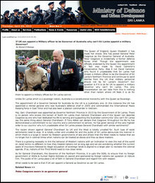 Screenshot of SL Defence Story on 31 March 2014