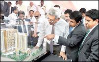 Gotabhaya inspecting TATA housing scheme
