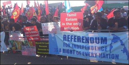 Eezham Tamils protest in Scotland against 'Sri Lanka'