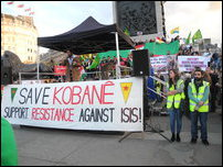 Global Day for Kobane observed at Trafalgar Square in London