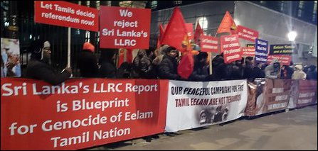Protest in UK on Sri Lanka 'Independence Day'
