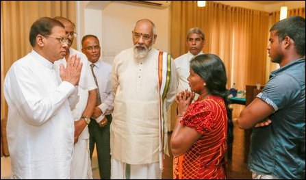 Sri Lankan President Maithiripala Sirisena visited Jaffna on Tuesday to meet the family of Vithya