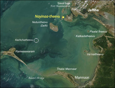 The location of Nayinaa-theevu