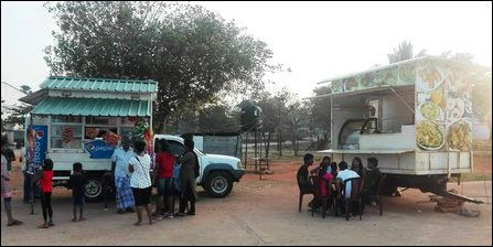 Mobile vehicle-based shops by SL military in KKS
