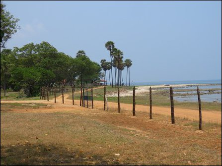 The entire coast is fenced off by the occupying military