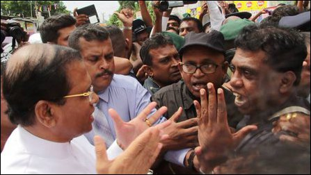 Protesters confront SL President Maithiripala visiting Jaffna