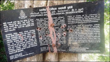 The SL Archaeology Department board at Kanthaasaami temple land in Thennai-maravadi