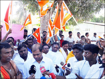 Protest march organised by Saiva groups in Mannaar