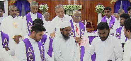 Moulavi AJM Ilyas with Batticaloa Bishop