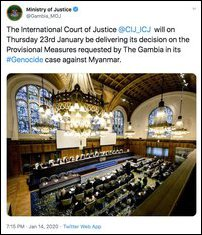 Tweet from the Justice Ministry of the Gambia