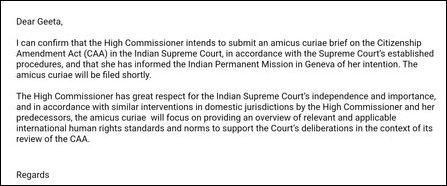 OHCHR Spokesperson Jeremy Laurence to India Today on the petition to be filed in the Supreme Court o