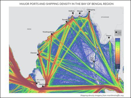 Shipping density in Bay of Bengal