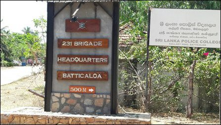 Board of 231 Brigade at Saravana street in Kalladi, Batticaloa