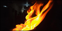 One of the flames of sacrifice lit inside a building in Valveddith-thu'rai, Jaffna